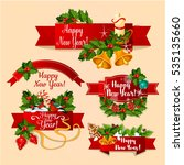 new year ribbon banners set.... | Shutterstock . vector #535135660