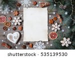 christmas wooden background... | Shutterstock . vector #535139530