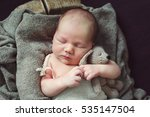 newborn baby in a basket in a... | Shutterstock . vector #535147504