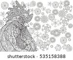 Hand Drawn Vector Rooster And...