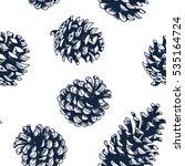 pine cones vector seamless... | Shutterstock .eps vector #535164724