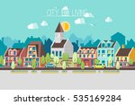 street of a small european town.... | Shutterstock .eps vector #535169284