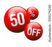red discount ball   50  off | Shutterstock .eps vector #535174240
