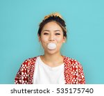 young girl chewing bubble gum... | Shutterstock . vector #535175740