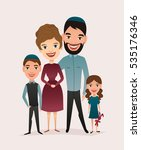 happy jewish family couple with ... | Shutterstock .eps vector #535176346