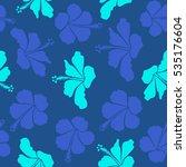 hibiscus flower seamless... | Shutterstock . vector #535176604