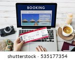 booking hotel reservation... | Shutterstock . vector #535177354