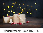 gifts wrapped in brown paper ...   Shutterstock . vector #535187218