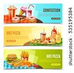 hot pizza restaurant online... | Shutterstock .eps vector #535195384