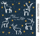 christmas deer. a set of... | Shutterstock . vector #535197553