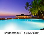 pool and cafe on tropical... | Shutterstock . vector #535201384