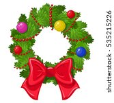 cartoon christmas wreath on a... | Shutterstock . vector #535215226