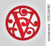 round monogram v. fancy... | Shutterstock .eps vector #535218580