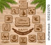 christmas icons collection on a ... | Shutterstock .eps vector #535231570