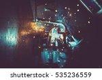 industrial workshop man welding ... | Shutterstock . vector #535236559