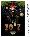 gold figures 2017  clock  glass ... | Shutterstock .eps vector #535236898