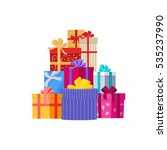 big pile of colorful wrapped...   Shutterstock .eps vector #535237990