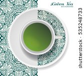 cup of green tea with doodle...   Shutterstock .eps vector #535248733