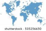 blue dots world map on white... | Shutterstock .eps vector #535256650