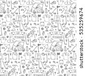 hand drawn doodle golf icons... | Shutterstock .eps vector #535259674