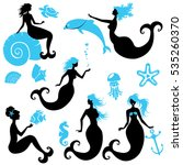 set of beautiful mermaid girl... | Shutterstock .eps vector #535260370