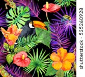 tropical leaves  exotic flowers ... | Shutterstock . vector #535260928