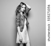 fashion portrait of beautiful... | Shutterstock . vector #535271056