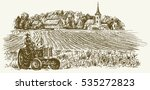 tractor in field. hand drawn... | Shutterstock .eps vector #535272823