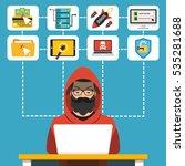 hacker using his computer for...   Shutterstock .eps vector #535281688