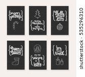 set of 6 christmas and new year ... | Shutterstock .eps vector #535296310