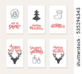 set of 6 christmas and new year ... | Shutterstock .eps vector #535296343