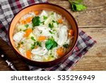 chicken soup with noodles and... | Shutterstock . vector #535296949