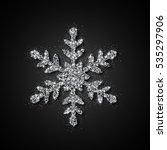silver glitter snowflake.... | Shutterstock .eps vector #535297906