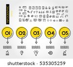 yellow linear infographic set... | Shutterstock .eps vector #535305259