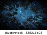Stock photo beautiful night sky the milky way and the trees elements of this image furnished by nasa 535318603