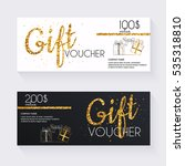 voucher template with gold gift ... | Shutterstock .eps vector #535318810