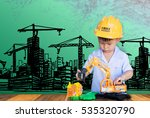 little engineer plays with toy... | Shutterstock . vector #535320790