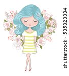 cute girl vector. children... | Shutterstock .eps vector #535323334