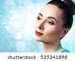 young woman over christmas... | Shutterstock . vector #535341898