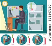 correct and incorrect sitting... | Shutterstock .eps vector #535347190
