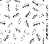 hotdog seamless background hand ... | Shutterstock .eps vector #535348198