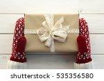 hands in gloves  mittens ... | Shutterstock . vector #535356580