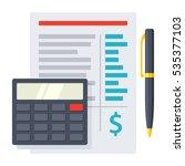 budget planning sheet with pen... | Shutterstock .eps vector #535377103