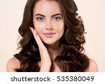 woman cosmetic closeup beauty... | Shutterstock . vector #535380049