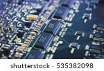 microchips on a circuit board. | Shutterstock . vector #535382098