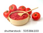 tomatoes bowl with tomato paste ... | Shutterstock . vector #535386103