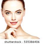 beautiful woman face closeup...   Shutterstock . vector #535386406