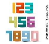 colorful paper numbers set.... | Shutterstock .eps vector #535386928