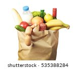 paper bag with food and drinks... | Shutterstock . vector #535388284