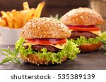 hamburger with beef meat and... | Shutterstock . vector #535389139